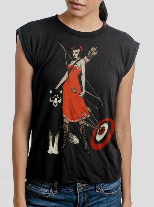 Huntress - Multicolor on Black Women's Rolled Cuff T-Shirt