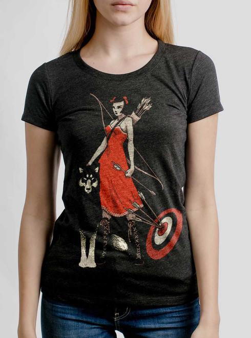 Huntress - Multicolor on Heather Black Triblend Junior Womens T-Shirt