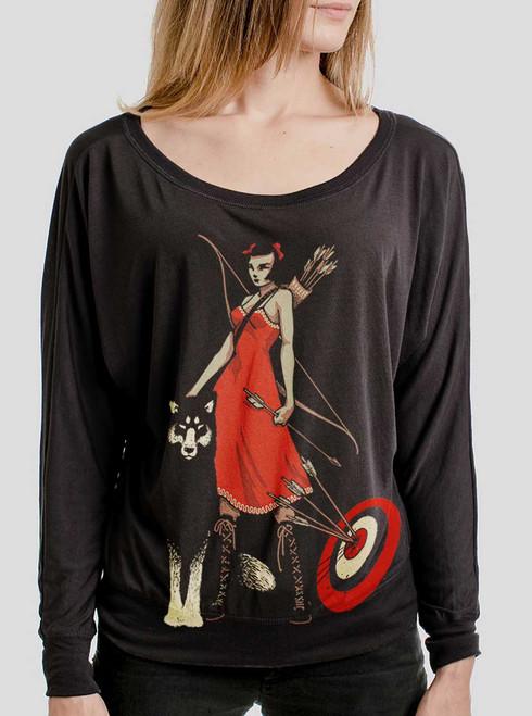 Huntress - Multicolor on Black Women's Long Sleeve Dolman