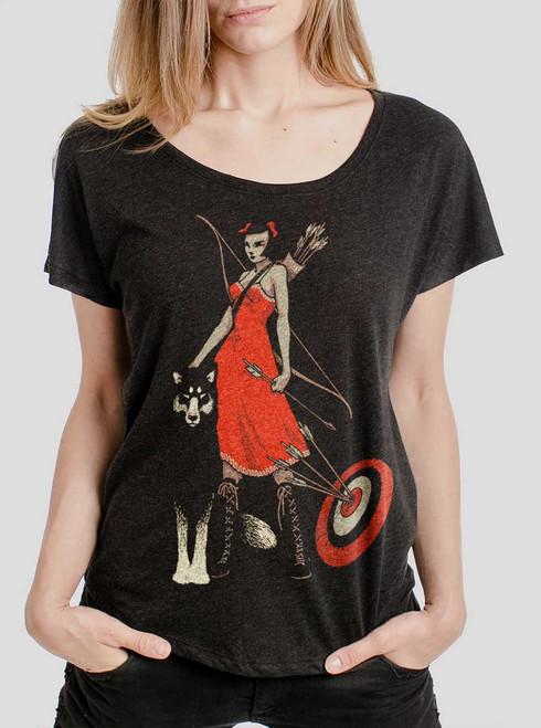 Huntress - Multicolor on Heather Black Triblend Womens Dolman T Shirt