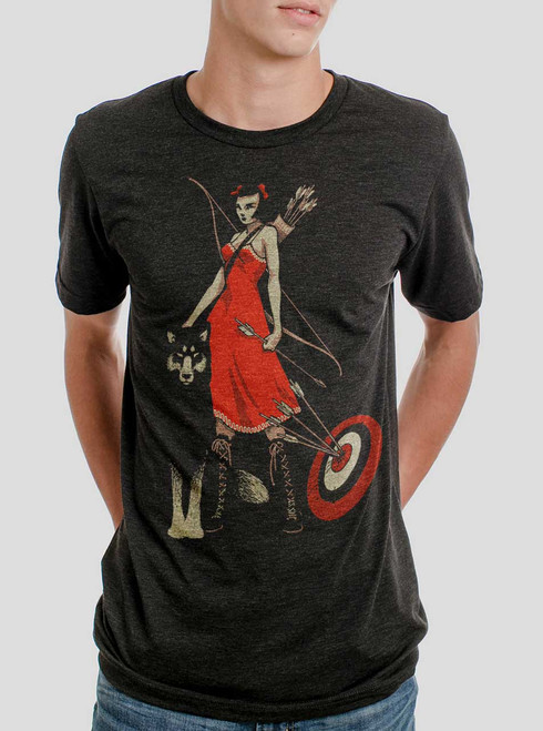 Huntress - Multicolor on Heather Black Triblend Mens T Shirt