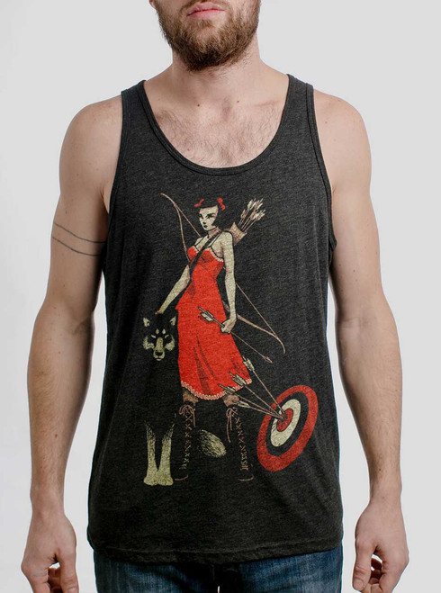 Huntress - Multicolor on Heather Black Triblend Mens Tank Top