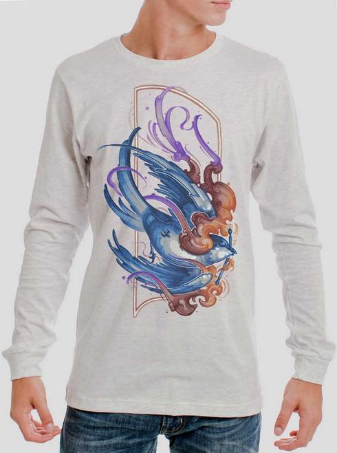 Firebird - Multicolor on Heather White Men's Long Sleeve