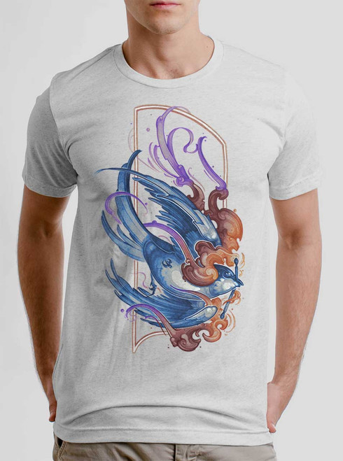 Firebird - Multicolor on Heather White Triblend Mens T Shirt