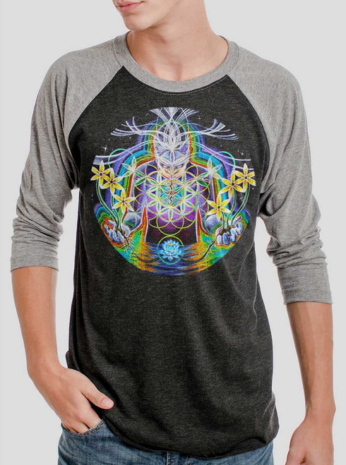 Seeds of Life - Multicolor on Heather Black and Grey Triblend Raglan