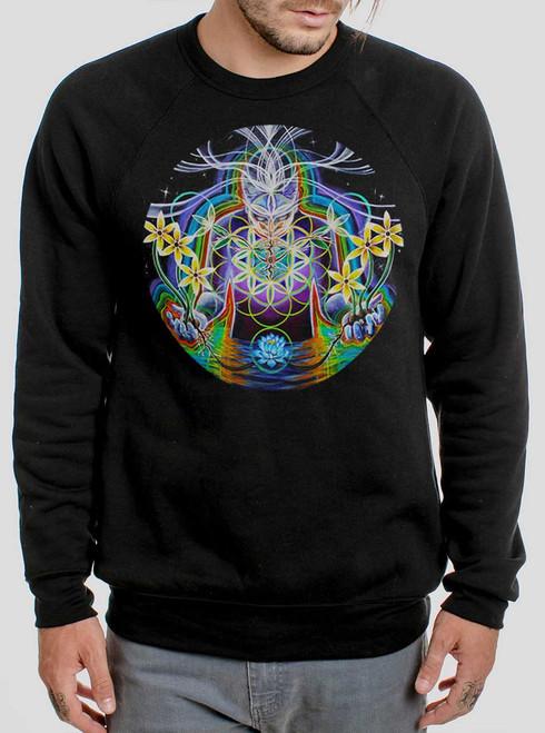 Seeds of Life - Multicolor on Black Men's Sweatshirt
