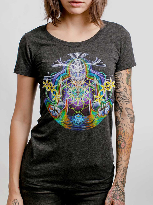 Seeds of Life  - Multicolor on Heather Black Triblend Womens T-Shirt