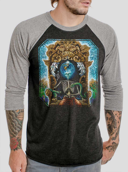 Samsara - Multicolor on Heather Black and Grey Triblend Raglan