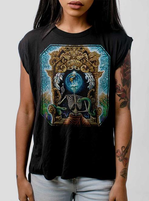 Samsara - Multicolor on Black Women's Rolled Cuff T-Shirt