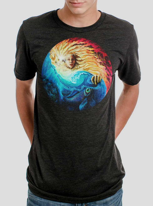The Sun and The Sea - Multicolor on Heather Black Triblend Mens T Shirt