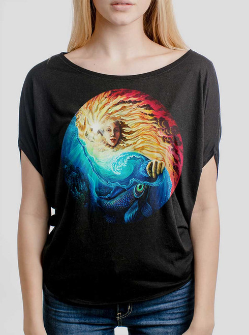 The Sun and The Sea - Multicolor on Black Women's Circle Top