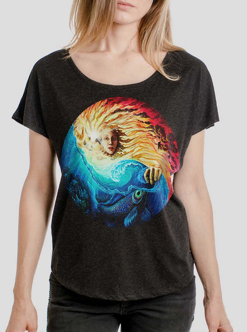 The Sun and The Sea - Multicolor on Heather Black Triblend Womens Dolman T Shirt