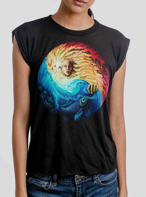 The Sun and The Sea - Multicolor on Black Women's Rolled Cuff T-Shirt