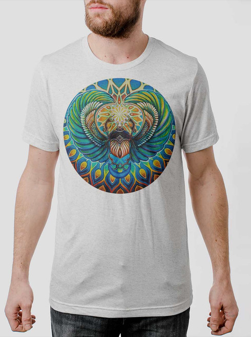 Scarab - Multicolor on Heather White Triblend Mens T Shirt