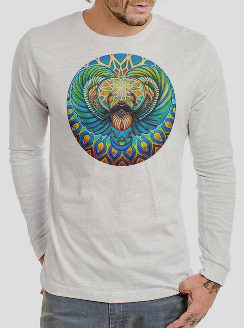 Scarab - Multicolor on Heather White Men's Long Sleeve