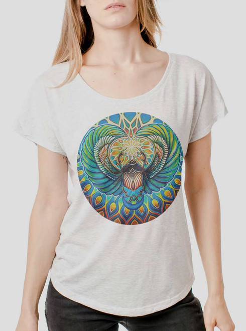 Scarab - Multicolor on Heather White Triblend Womens Dolman T Shirt