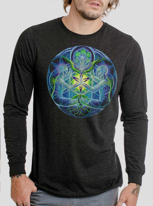 Divine Unification - Multicolor on Heather Black Triblend Men's Long Sleeve
