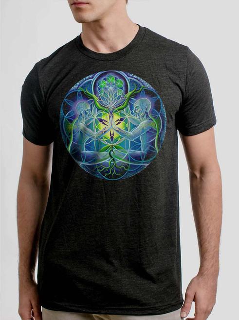 Divine Unification - Multicolor on Heather Black Triblend Mens T Shirt