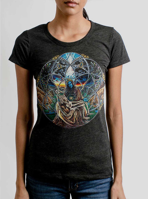 Trinity - Multicolor on Heather Black Triblend Womens T-Shirt