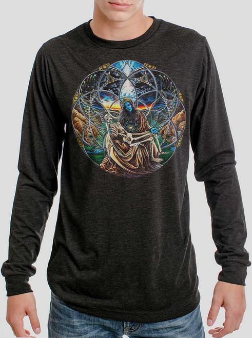 Trinity - Multicolor on Heather Black Triblend Men's Long Sleeve