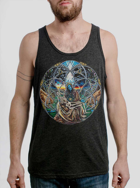 Trinity - Multicolor on Heather Black Triblend Mens Tank Top