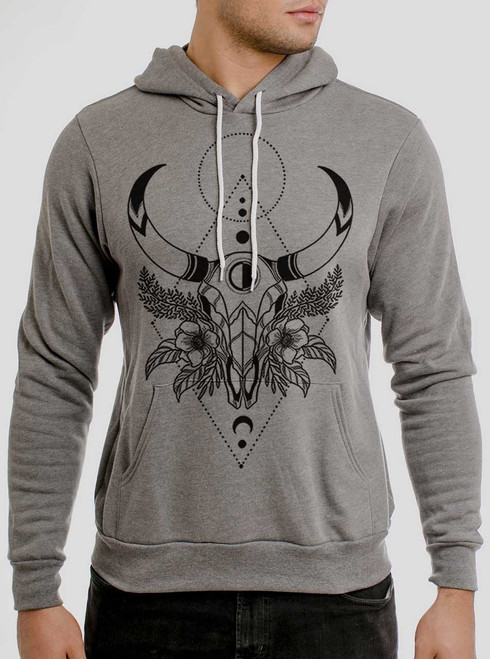 Cow Skull - Black on Heather Grey Men's Pullover Hoodie