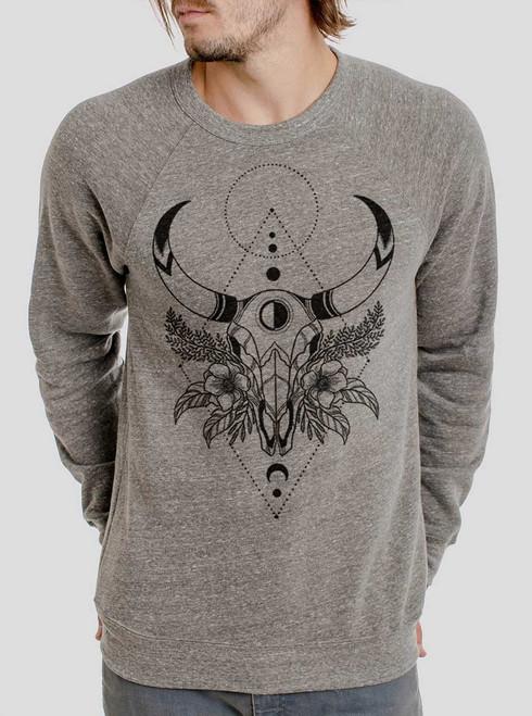 Cow Skull - Black on Heather Grey Triblend Men's Sweatshirt