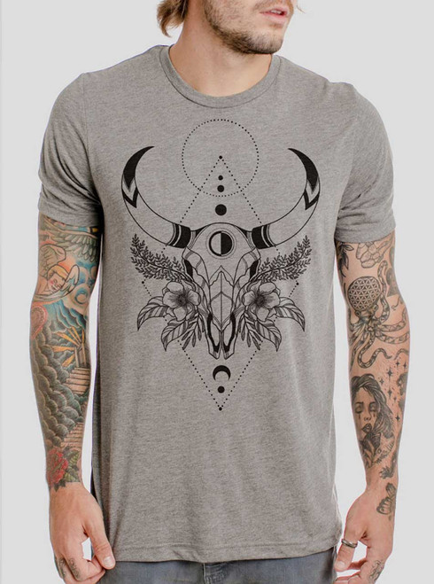 Cow Skull - Black on Heather Grey Triblend Mens T Shirt