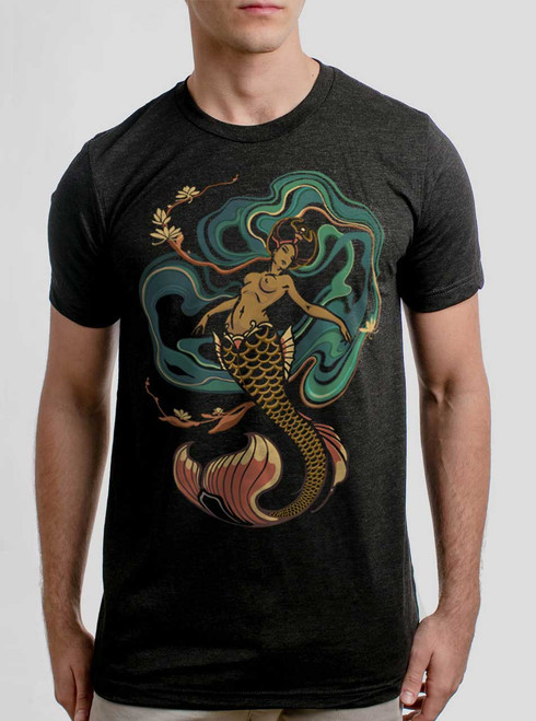 Mermaid - Multicolor on Heather Black Triblend Mens T Shirt