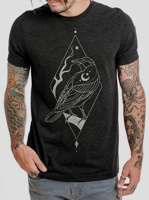 Raven - White on Heather Black Triblend Mens T Shirt