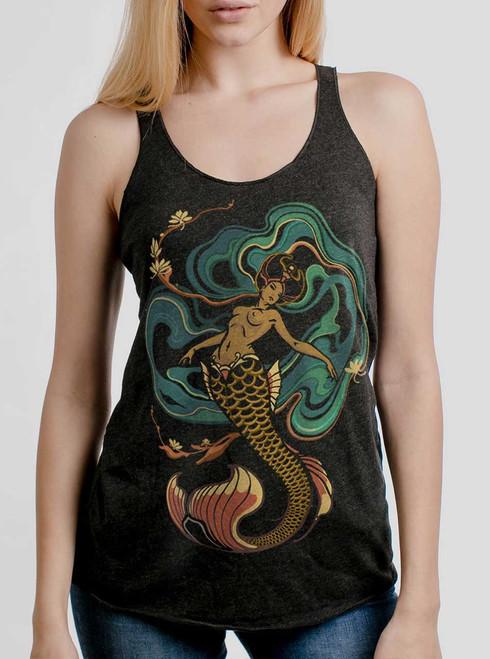 Mermaid - Multicolor on Heather Black Triblend Womens Racerback Tank Top