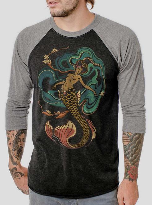Mermaid - Multicolor on Heather Black and Grey Triblend Raglan
