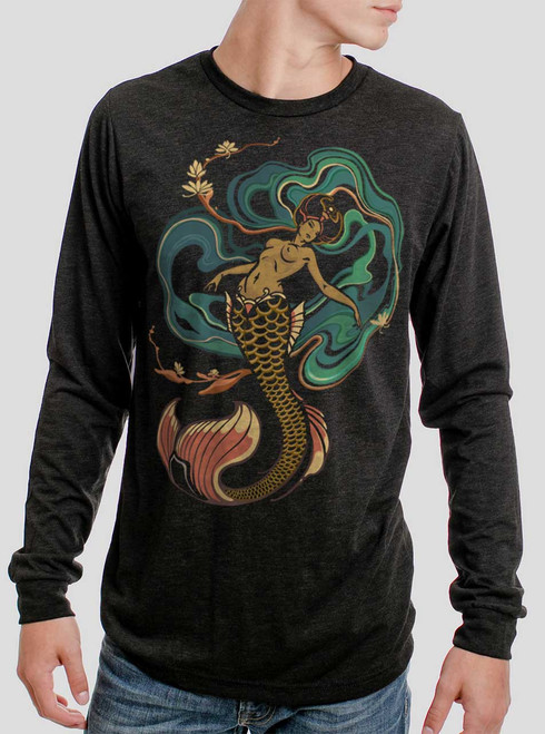 Mermaid - Multicolor on Heather Black Triblend Men's Long Sleeve