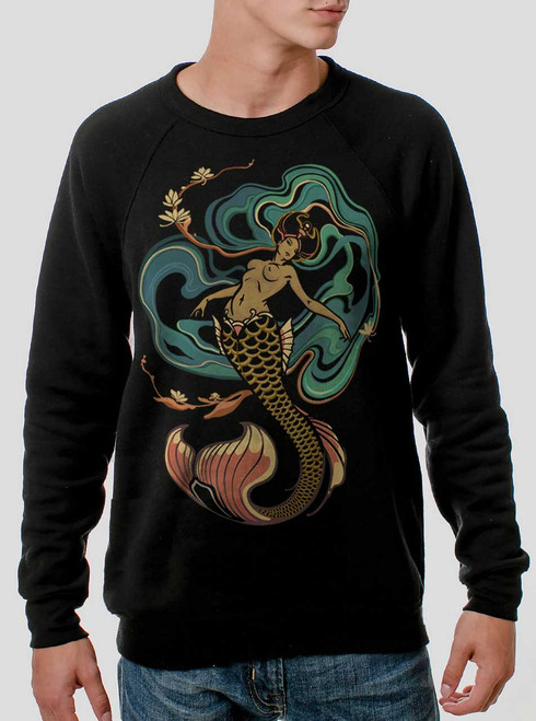 Mermaid - Multicolor on Black Men's Sweatshirt