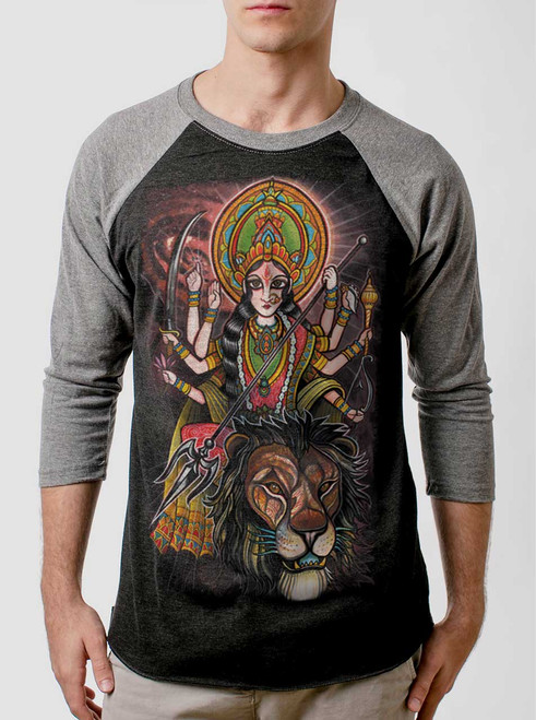 Durga - Multicolor on Heather Black and Grey Triblend Raglan