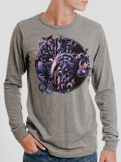 Dawn of the Infinite - Multicolor on Heather Grey Triblend Men's Long Sleeve