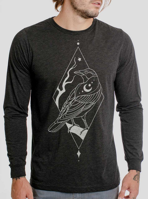 Raven - White on Heather Black Triblend Men's Long Sleeve