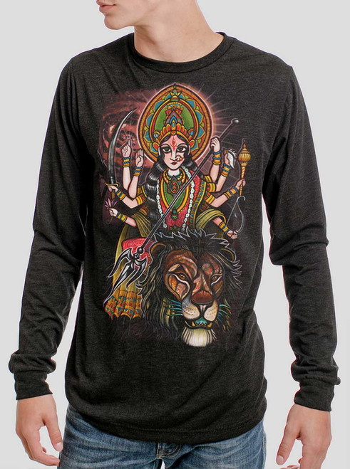 Durga - Multicolor on Heather Black Triblend Men's Long Sleeve
