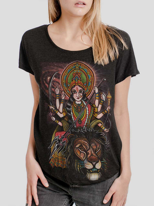Durga - Multicolor on Heather Black Triblend Womens Dolman T Shirt