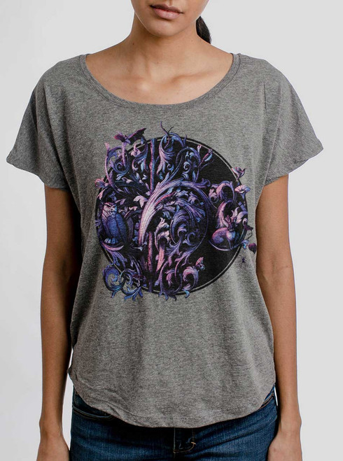 Dawn of the Infinite - Multicolor on Heather Grey Triblend Womens Dolman T Shirt