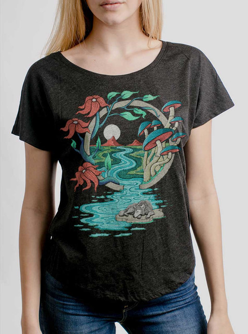 Spirit Guide - Multicolor on Heather Black Triblend Womens Dolman T Shirt