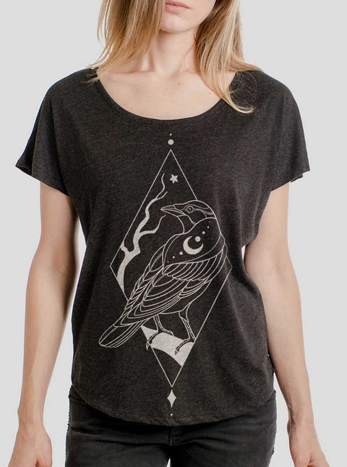 Raven - Multicolor on Heather Black Triblend Womens Dolman T Shirt