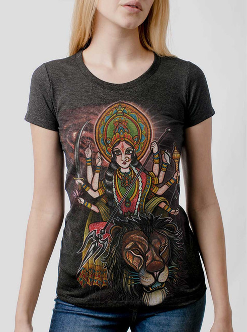 Durga - Multicolor on Heather Black Triblend Womens T-Shirt
