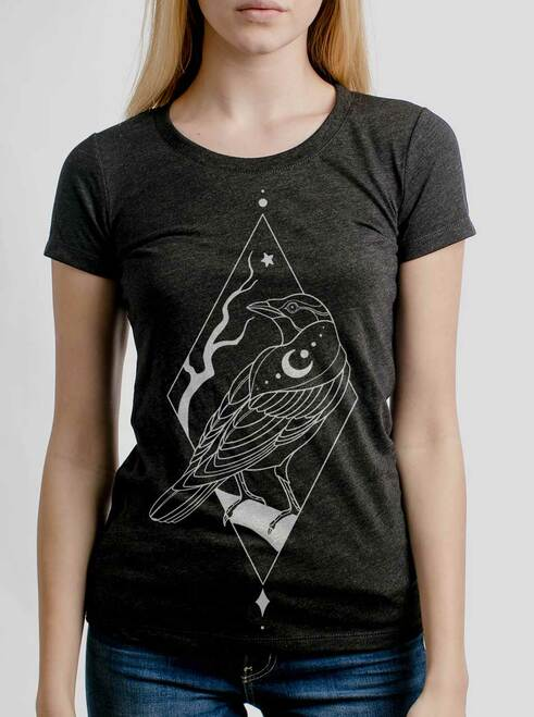 Raven - White on Heather Black Triblend Womens T-Shirt