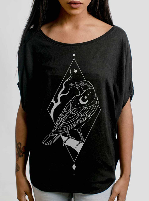 Raven - White on Black Women's Circle Top