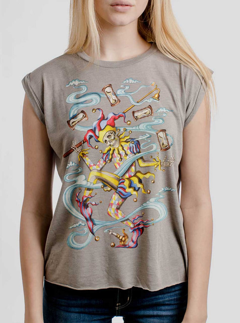 Juggler - Multicolor on Heather Stone Women's Rolled Cuff T-Shirt