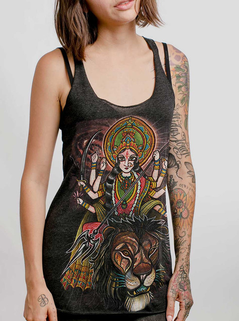Durga - Multicolor on Heather Black Triblend Womens Racerback Tank Top