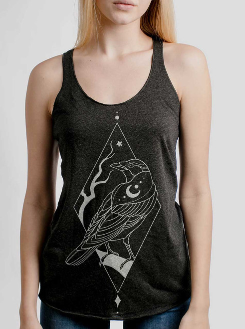 Raven - White on Heather Black Triblend Womens Racerback Tank Top