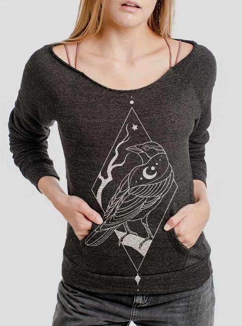 Raven - White on Charcoal Triblend Women's Maniac Sweatshirt
