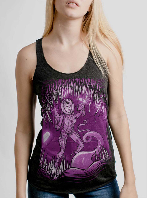 Teeth - Multicolor on Heather Black Triblend Womens Racerback Tank Top